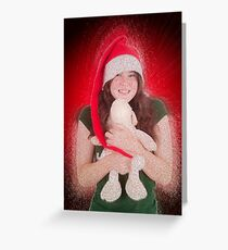 Young teen wearing Santa's helper hat  Greeting Card