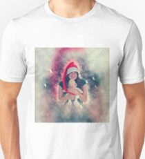 Digitally enhanced image of a Young teen wearing Santa's helper hat and hugging a stuffed Teddy bear with Christmas atmosphere  T-Shirt