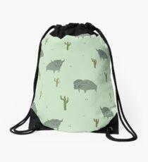 Bison Pattern Pistachio Drawstring Bag
