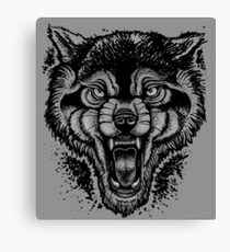 Neotraditional Inked Wolf Canvas Print