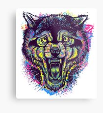 Neotraditional Full Color Wolf Metal Print