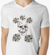 Skull and flowers Men's V-Neck T-Shirt