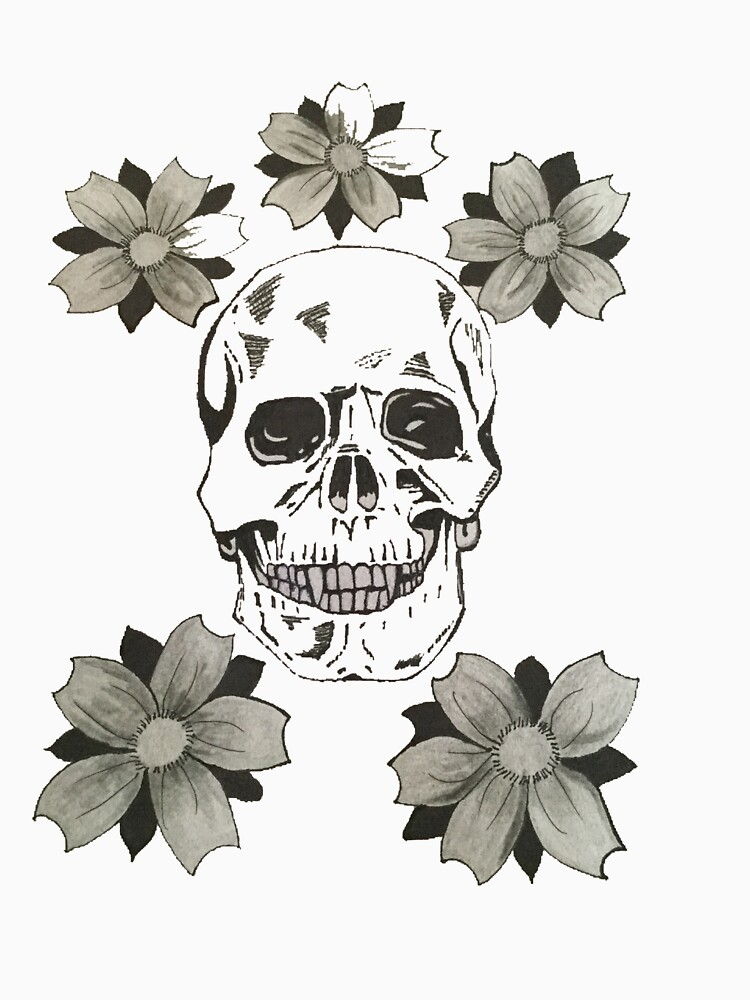 Skull and flowers by EdwardCat