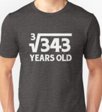 Funny Math Geek 7th Birthday Cube Root 7 Year Old  T-Shirt
