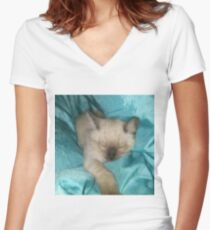 Satin Kitty  Women's Fitted V-Neck T-Shirt