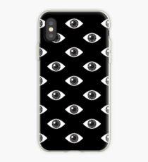 Augen weit offen - auf Schwarz iPhone-Hülle & Cover