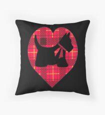 Tartan Scottie Heart Throw Pillow