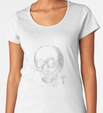 Woman with Halloween Skull Reflection In Mirror Women's Premium T-Shirt