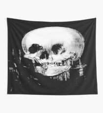 Woman with Halloween Skull Reflection In Mirror Wall Tapestry
