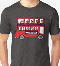 London Bus Doodle Art - Red and Blue Double Decker T-Shirt