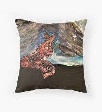 Fox Under the Moon Throw Pillow