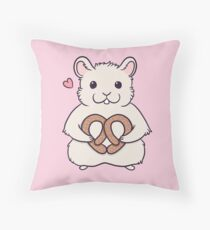 I love you more than this hamster loves pretzels Throw Pillow