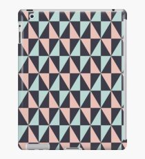 Retro Triangle Pattern, Light Blue, Black And Rose iPad Case/Skin