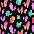 Watercolor Crystals // Black by nikury