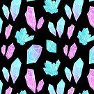 Pastel Watercolor Crystals // Black by nikury