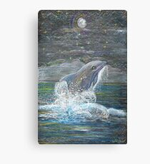 Dolphin Leap for the Moon Canvas Print