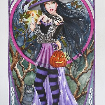 Halloween Samhain witch cat celtic style by gabo2828