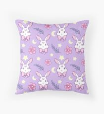 Sakura Bunny // Purple Throw Pillow