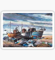 Fishing Boats on The Stade, Hastings Sticker