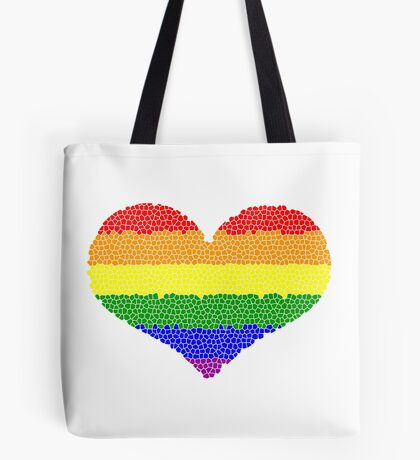 Regenbogen Herz Mosaik Tote Bag