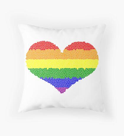 Regenbogen Herz Mosaik Dekokissen