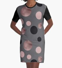 Elegant rose gold, black and pink dots Graphic T-Shirt Dress