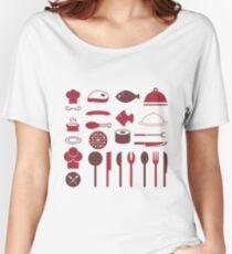 Food Restaurant Pattern Women's Relaxed Fit T-Shirt