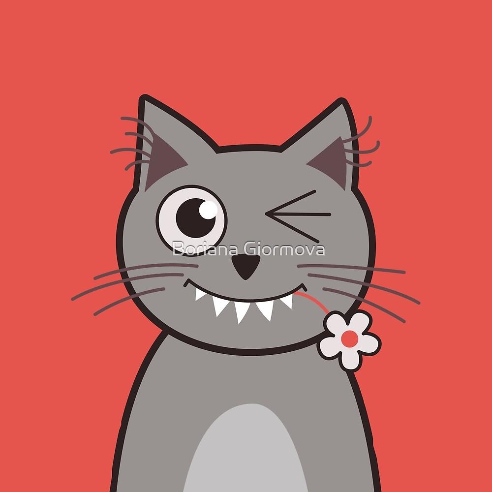 Flower Nibbling Winking Cat by Boriana Giormova