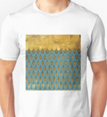 Shiny Blue Teal Gold Glitter Mermaid Fish Scales T-Shirt