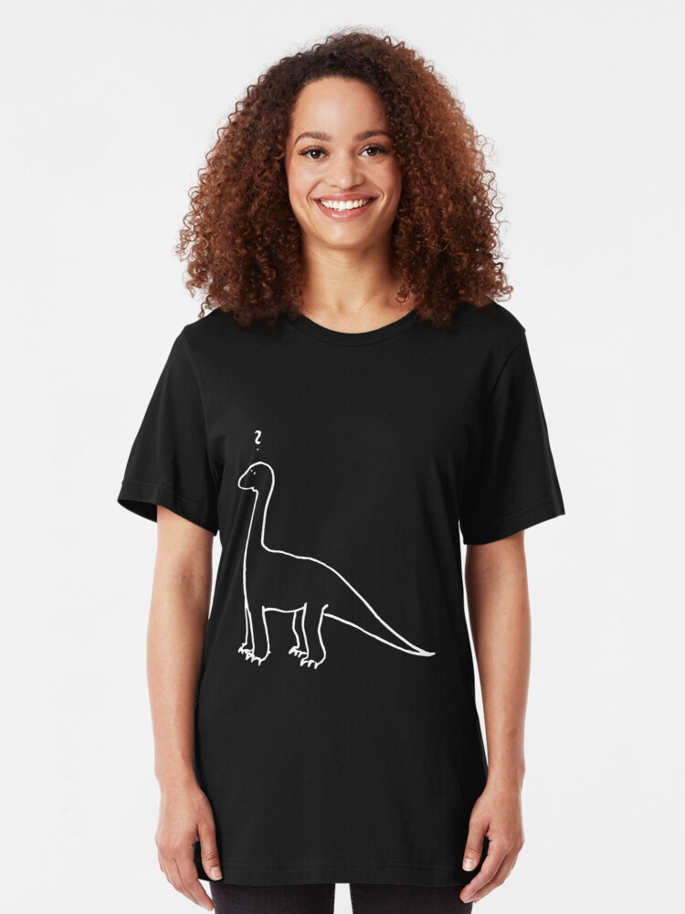Alternate view of The Quizzical Dinosaur (white) Slim Fit T-Shirt