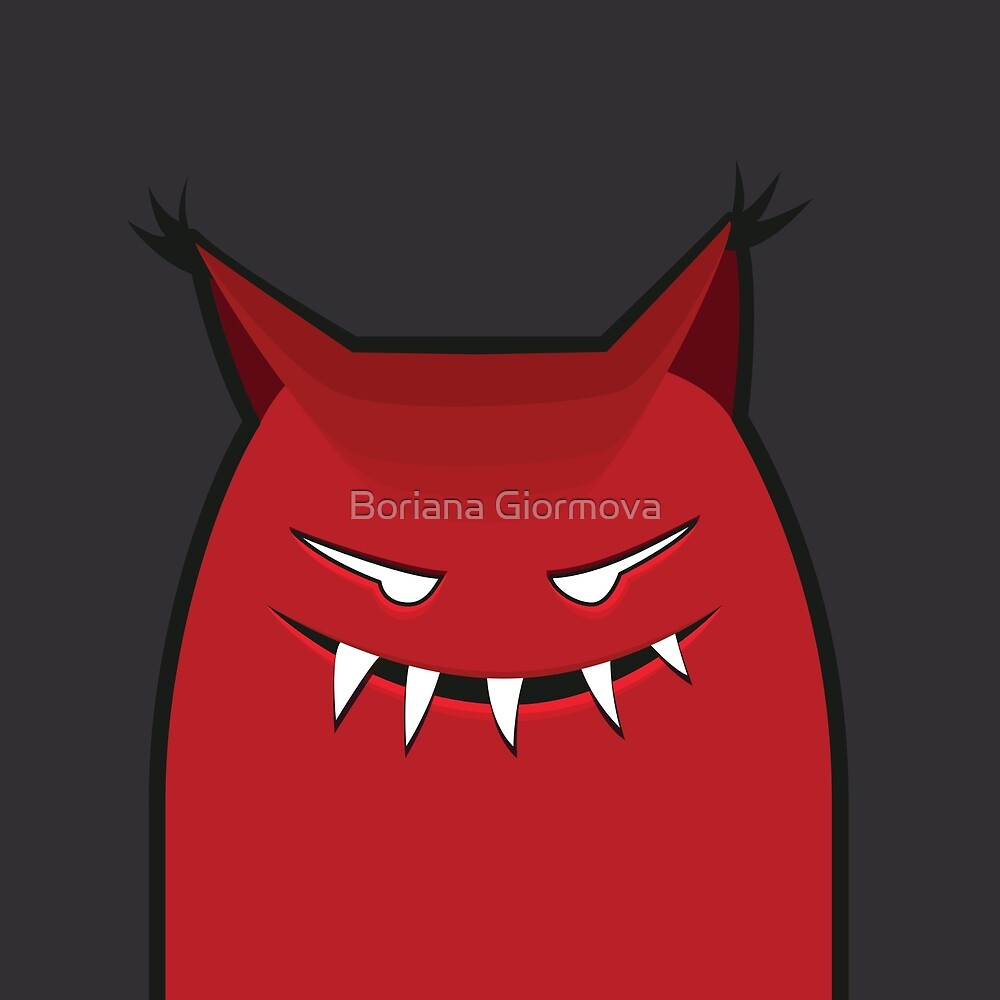 Red Grinning Evil Monster by Boriana Giormova