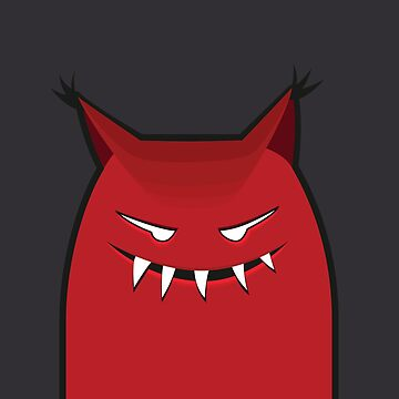 Red Grinning Evil Monster by azzza