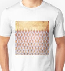 Shiny Salmon Pink  Gold Glitter Mermaid Fish Scales T-Shirt