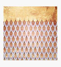Shiny Salmon Pink  Gold Glitter Mermaid Fish Scales Photographic Print