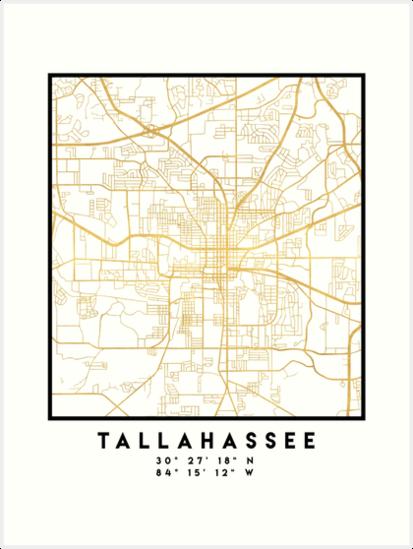 TALLAHASSEE FLORIDA CITY STREET MAP ART\