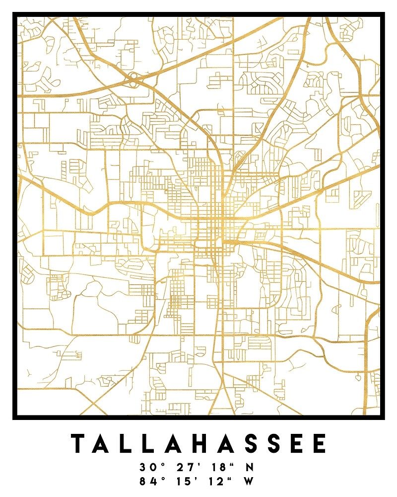TALLAHASSEE FLORIDA CITY STREET MAP ART by deificusArt Redbubble