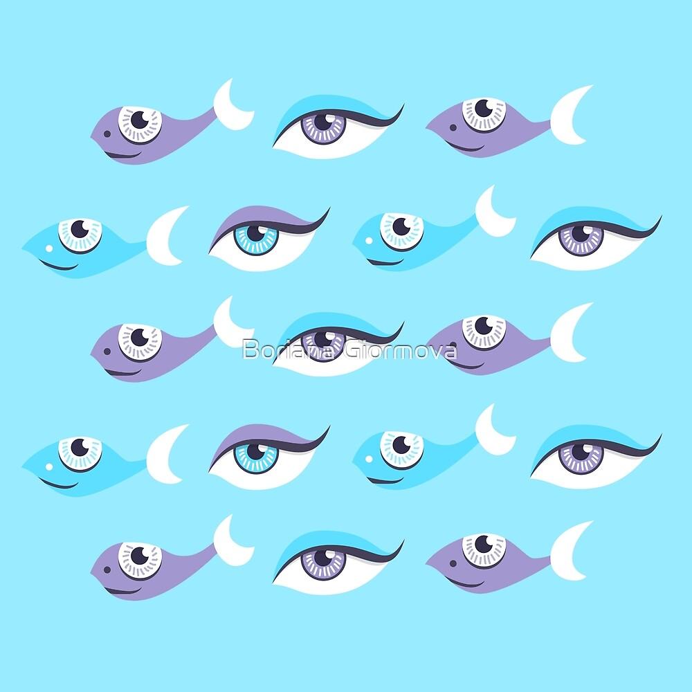 Pattern of blue eyes and fish in sea by Boriana Giormova