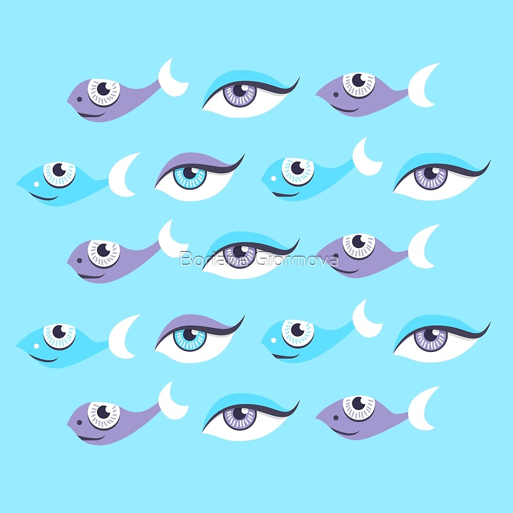 Pattern of blue eyes and fish in sea by Boriana Giormova
