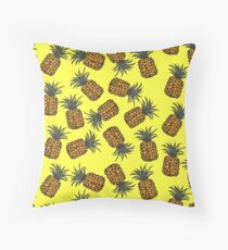 Summer and colorful hand drawn pineapple pattern Throw Pillow