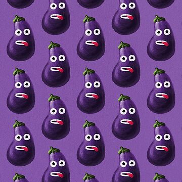 Purple Funny Cartoon Eggplant Pattern by azzza