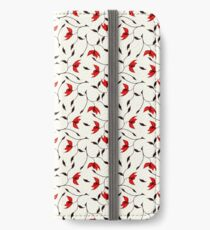 Delicate Red Flower Pattern iPhone Wallet/Case/Skin