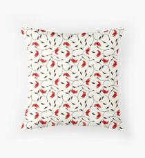 Delicate Red Flower Pattern Throw Pillow