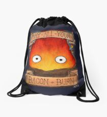 Studio Ghilbi Illustration: CALCIFER #3 Drawstring Bag