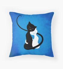Blue White And Black Cats In Love Throw Pillow