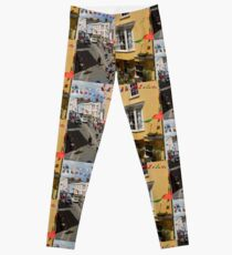 Looking Down at Life on the Street at Tenby, Wales Leggings