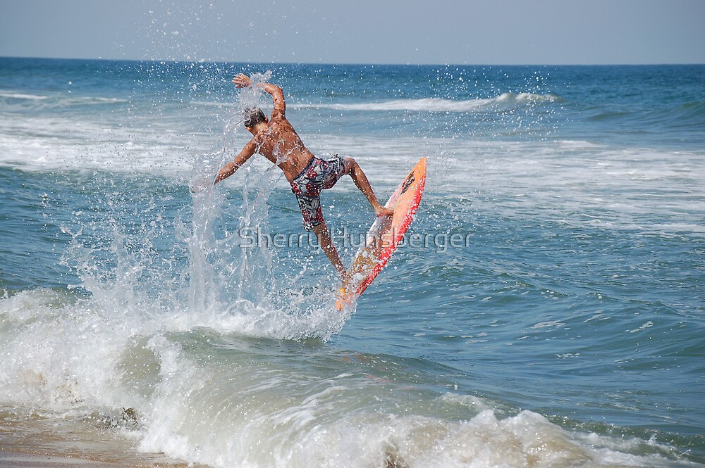 Surfing into the wave by Sherry Hunsberger