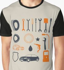 Garage car mechanic tool pattern Graphic T-Shirt