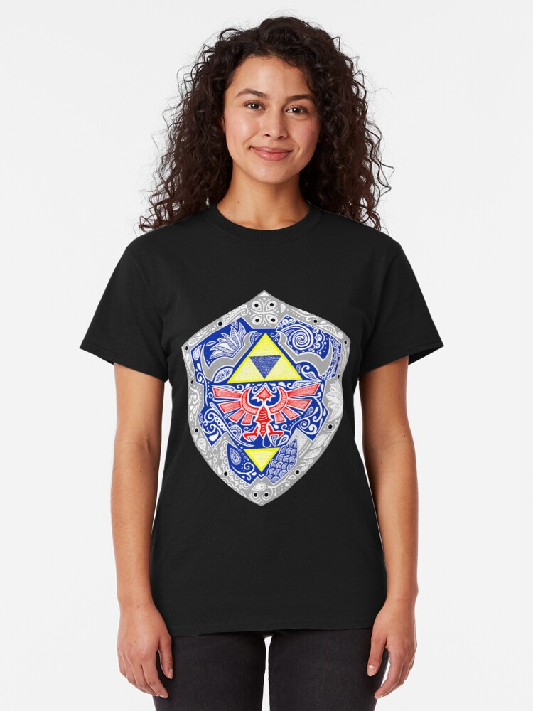 Vista alternativa de Camiseta clásica Zelda - Link Shield Doodle