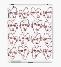 Red Line Drawing Heart Faces iPad Case/Skin