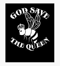 God Save The Queen Bee T-Shirt - Funny Bee Keeper Crown Tee Photographic Print